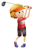 A boy golfing Royalty Free Stock Photo