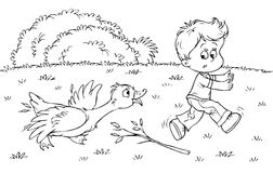 Boy and goose royalty free illustration