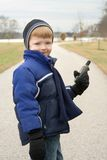 Boy with GPS Royalty Free Stock Images