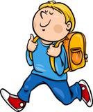 Boy grade student cartoon illustration. Cartoon Illustration of Primary School Student Boy with Knapsack Royalty Free Stock Images