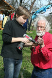 Boy and grandfather royalty free stock images