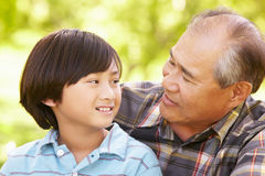 Boy and grandfather outdoors Royalty Free Stock Image