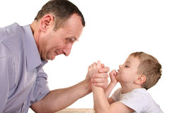 Boy grandfather wrestling Stock Photo
