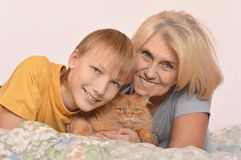 Boy with grandmother and cat Royalty Free Stock Photos