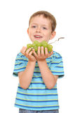 Boy and grapes Royalty Free Stock Photography