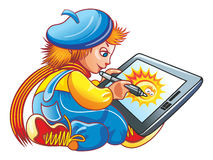 Boy and a graphics tablet. Blue and Yellow. Cartoon Vector Illustration Boy with graphics tablet Vector Illustration