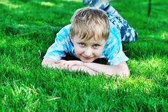 Boy on grass Stock Images