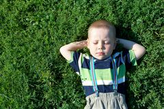 Boy in grass Stock Images