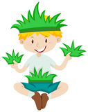 Boy in grass costume Royalty Free Stock Images