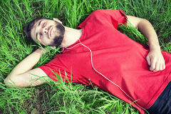 Boy in a grass Stock Images