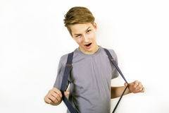 Boy in a gray shirt Stock Images