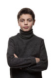 Boy with a gray sweater, portrait Stock Photos