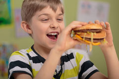 Boy and greasy burger Royalty Free Stock Image