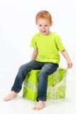 Boy green gift Stock Photography