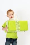 Boy green gift Royalty Free Stock Photos