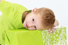 Boy green gift Royalty Free Stock Photo