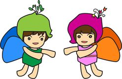 A boy in green and girl in pink ,Put on butterfly clothing with fly wings. Stock Image