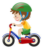 Boy with green helmet riding bike. Illustration Royalty Free Stock Image