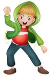 A boy in green jacket Stock Images
