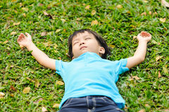 Boy on the green lawn Stock Images