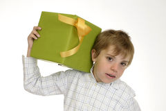 Boy with green present Stock Photography