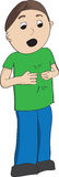 Boy in green shirt signing more. In American Sign Language, ASL Stock Images
