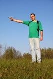 Boy in green t-shirt stock photo