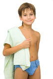 Boy with green towel Stock Photo