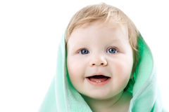 Boy in a green towel isolated Royalty Free Stock Images