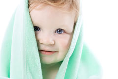 Boy in a green towel Stock Photography