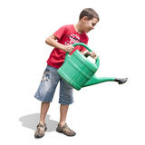 Boy and green watering-can Stock Image
