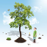 Boy Growing Nature Tree in White Garden. A young boy is growing a big tree from soil on a white and blue gradient background. Use it for an environment or garden Stock Photography