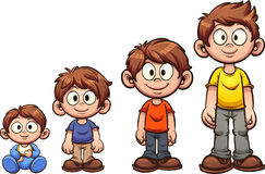 Boy growing up. Cartoon boy growing up. Vector clip art illustration with simple gradients. Each on a separate layer Stock Photos