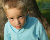 Boy with Guilty Look. Young boy in afternoon light, with an expression on his face that seems to say, Who, Me?. Shallow depth of field, focus on his face Royalty Free Stock Photo