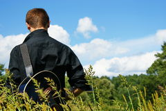 Boy with guitar. Royalty Free Stock Photos