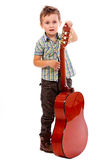 Boy with guitar. Cote boy with guitar isolated on white background stock photo