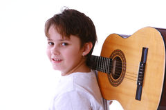 Boy and guitar Stock Image