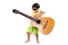 Boy and Guitar Royalty Free Stock Image