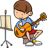 Boy with guitar cartoon illustration Stock Photos