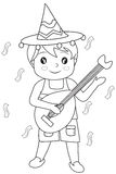 Boy with a guitar coloring page Royalty Free Stock Image