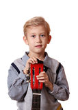 Boy with guitar portrait Royalty Free Stock Images