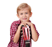 Boy with guitar portrait Stock Photos