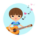 The boy with the guitar Stock Photography