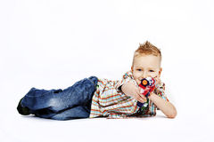 Boy and gun Royalty Free Stock Images