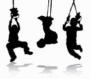 Boy gymnastic silhouette Stock Photography
