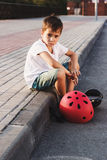 Boy with a gyro scooter, outdoors Royalty Free Stock Images