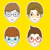 Boy Hair Style Sticker Set Stock Photo