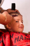 Boy at the hairdresser Stock Photo