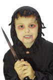 Boy in halloween. Halloween child costume on white background Royalty Free Stock Image