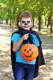 Boy in halloween costume. Little boy in halloween costume with basket for candies in the park, outdoor Royalty Free Stock Photos